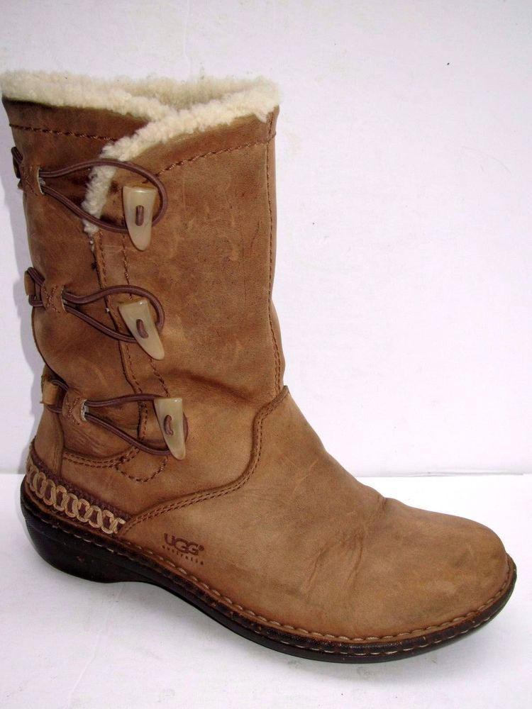 4e77d97cea7 UGG Australia Womens KONA #5156 Sheepskin Lined Brown Leather Toggle ...