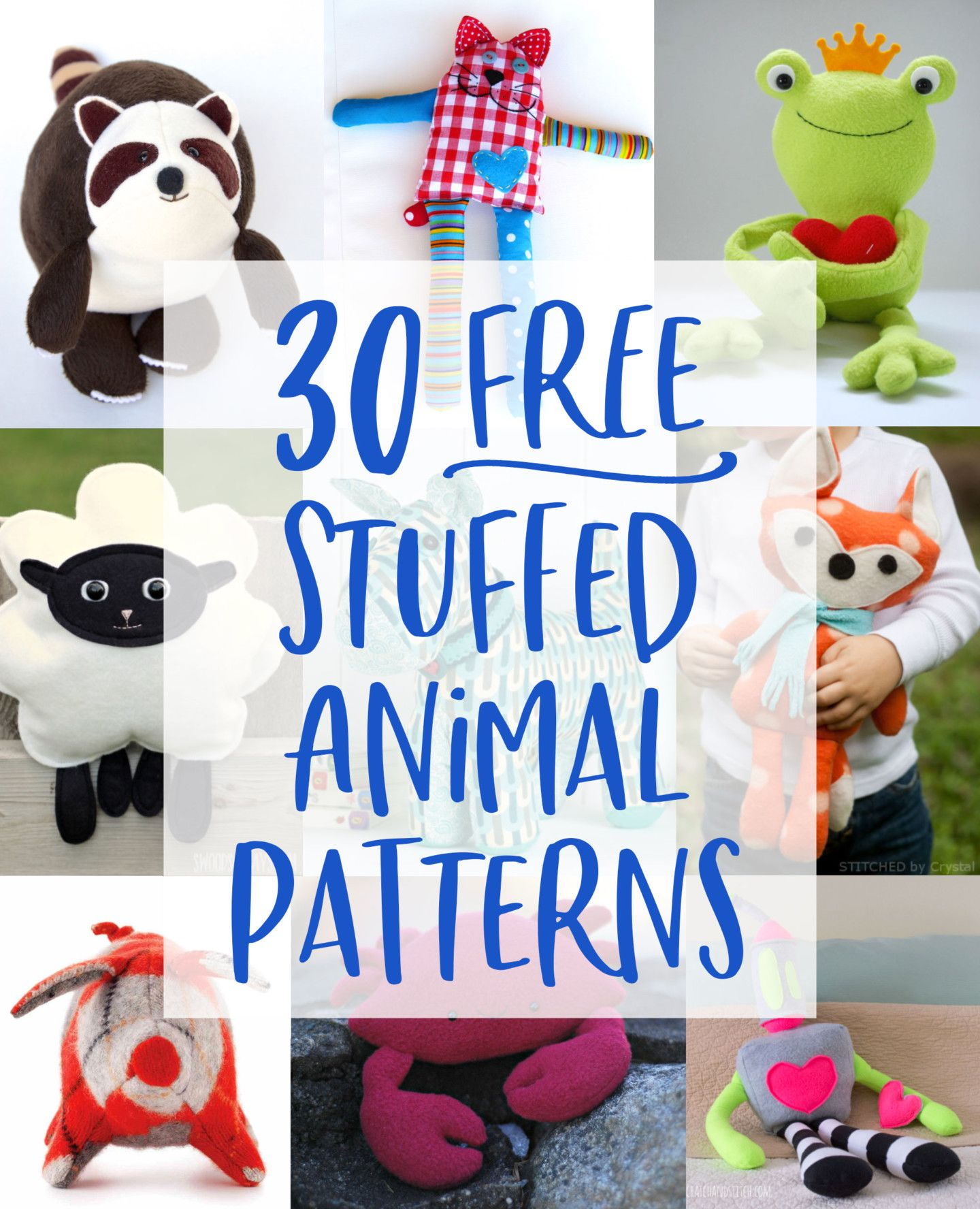 30 FREE Stuffed Animal Patterns with Tutorials to Bring to Life
