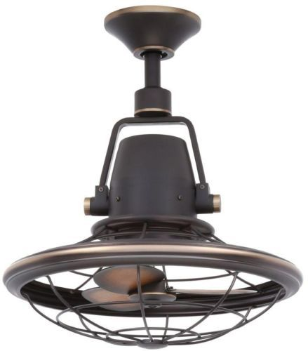 Distressed Bronze Outdoor Oscillating Ceiling Fan With
