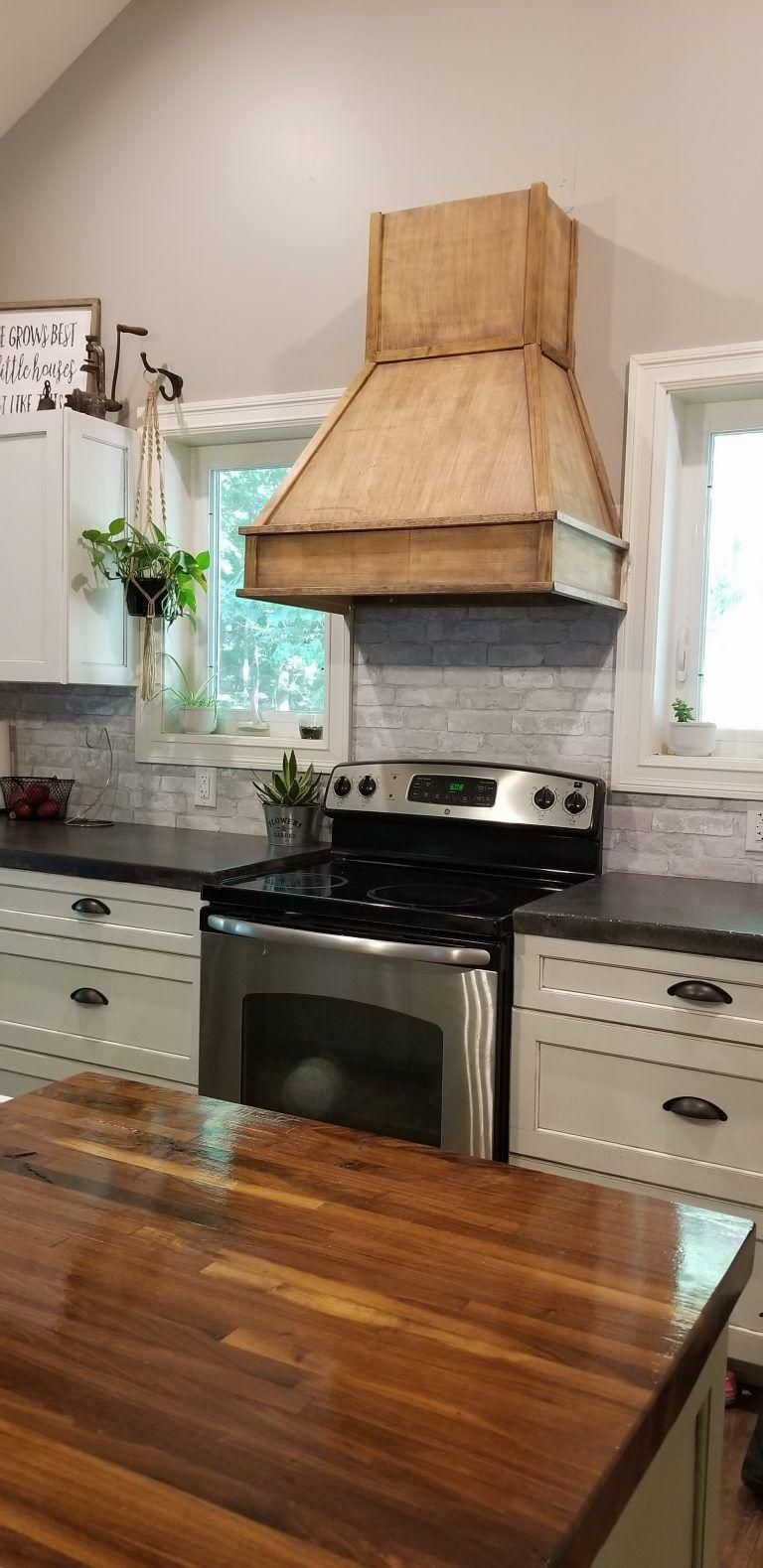 Diy Rustic Range Hood The Homemade Abode Tuscan Kitchen Kitchen Island Countertop White Kitchen Remodeling