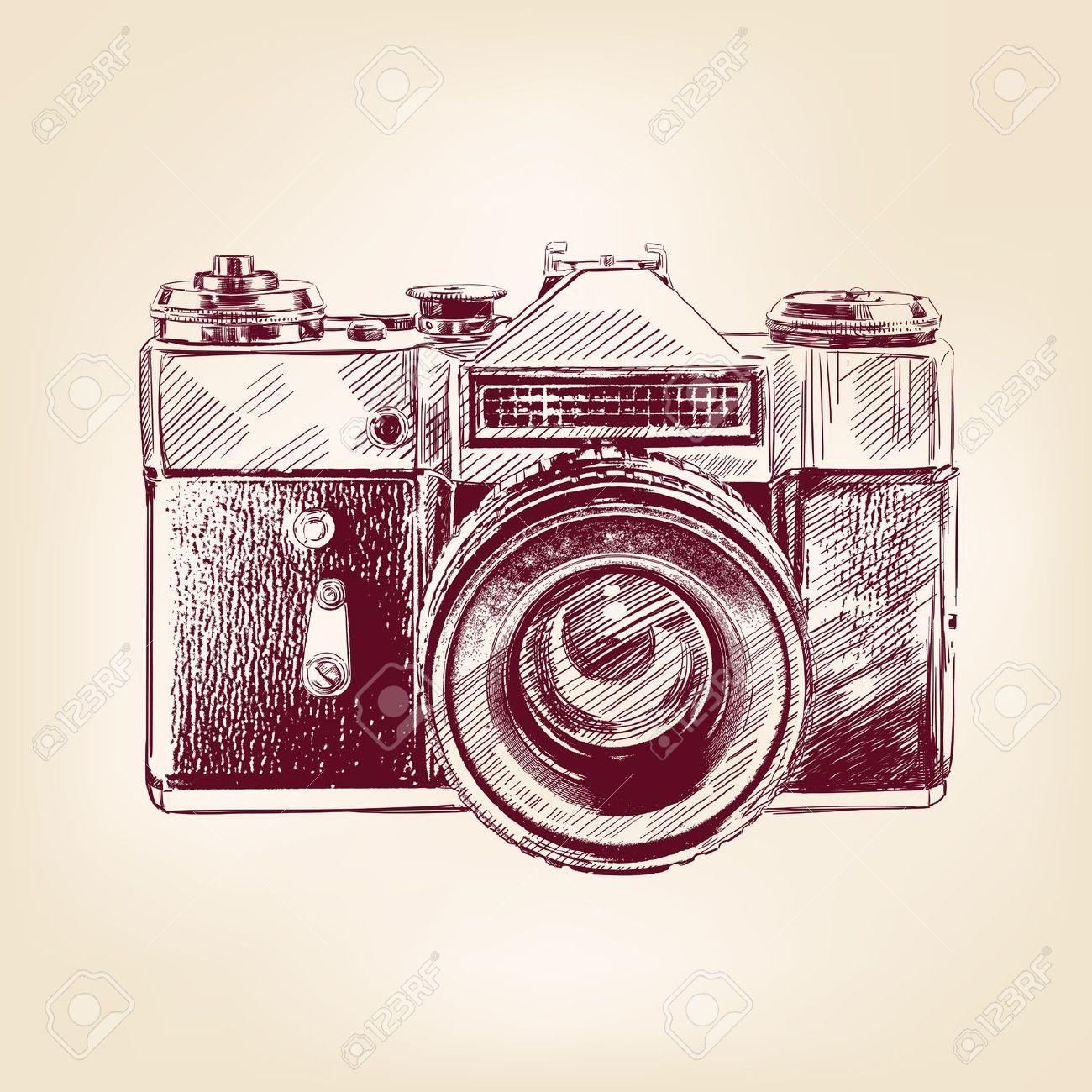 Vintage Old Photo Camera Llustration Vector Image On Dibujo De