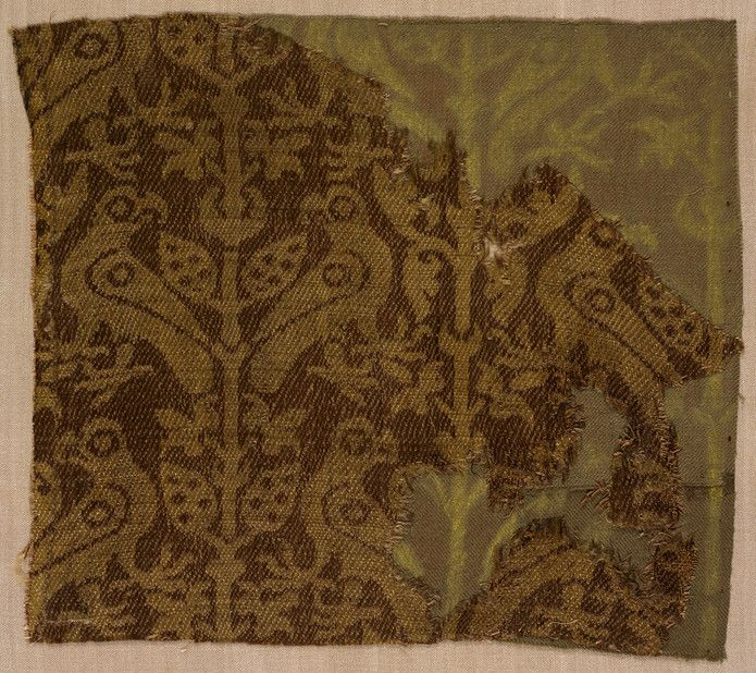 photograph about Printable Silk Fabric identify Textile fragment Unidentified artist, Sicilian, Sicily Textile