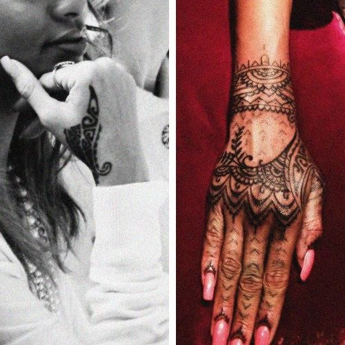 Rihannas Tribal Hand Tattoo Cover Up Tatted Up