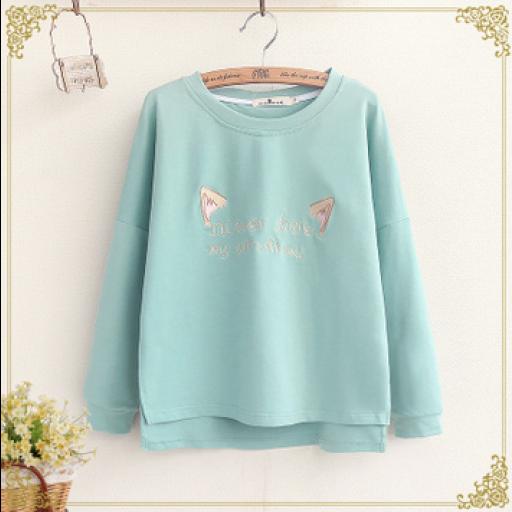 بلوفرات نسائية ابيض وردي تيفاني Mori Girl Cute Embroidery Sweatshirts