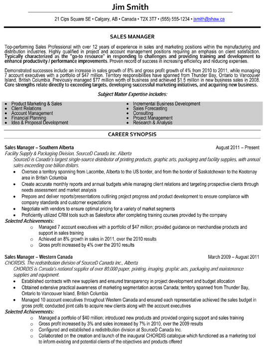 Sales Manager Resume Sample      Professional Resume