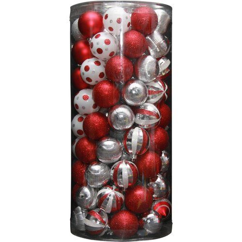 Walmart Holiday Time 101 Piece Shatterproof Christmas Ornament Set Red Christmas Ornament Sets Ornament Set Ornaments