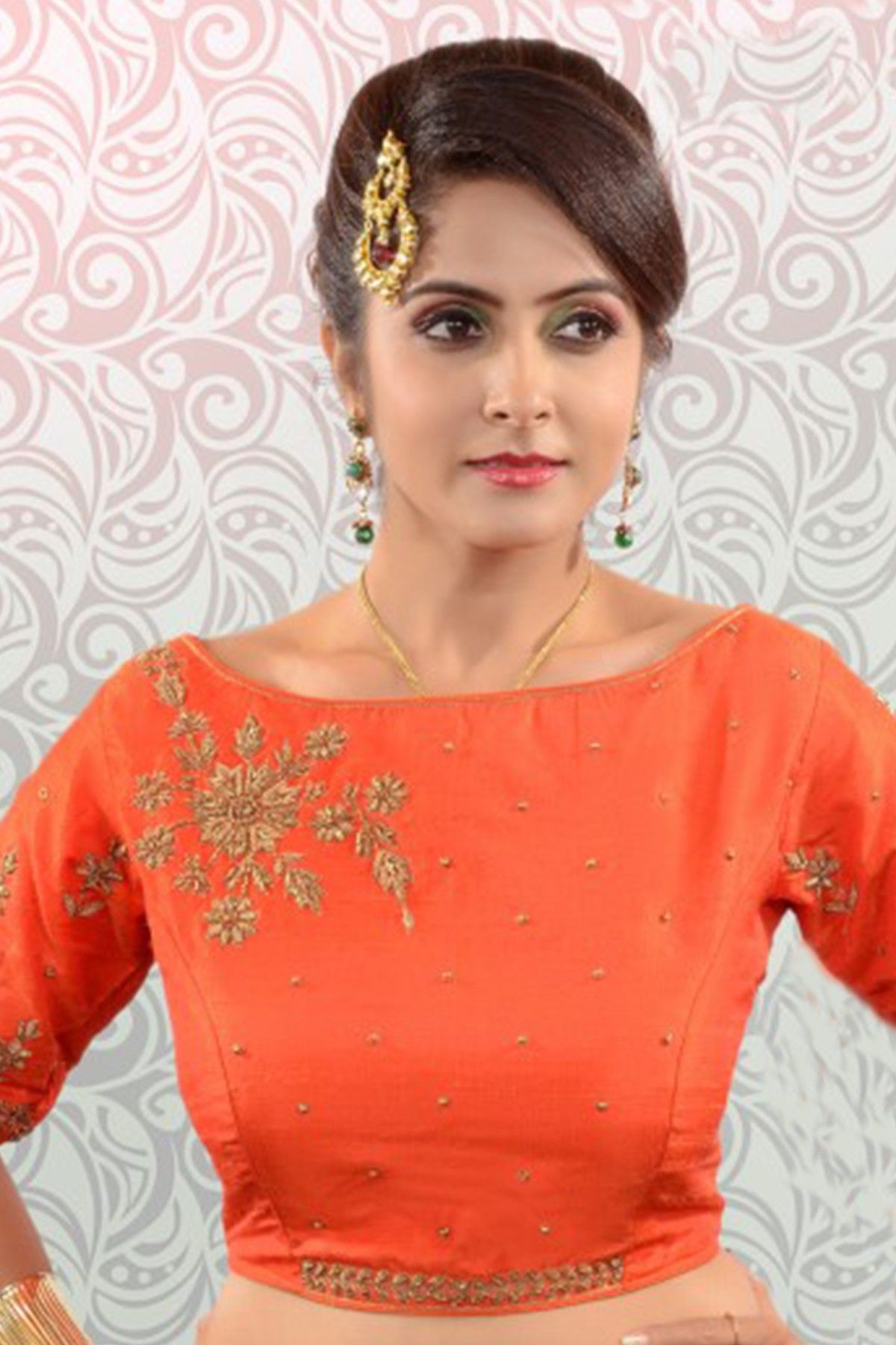 76abe93738f9da #Orange & antique #gold silk #stylish #blouse with boat neck -BL832