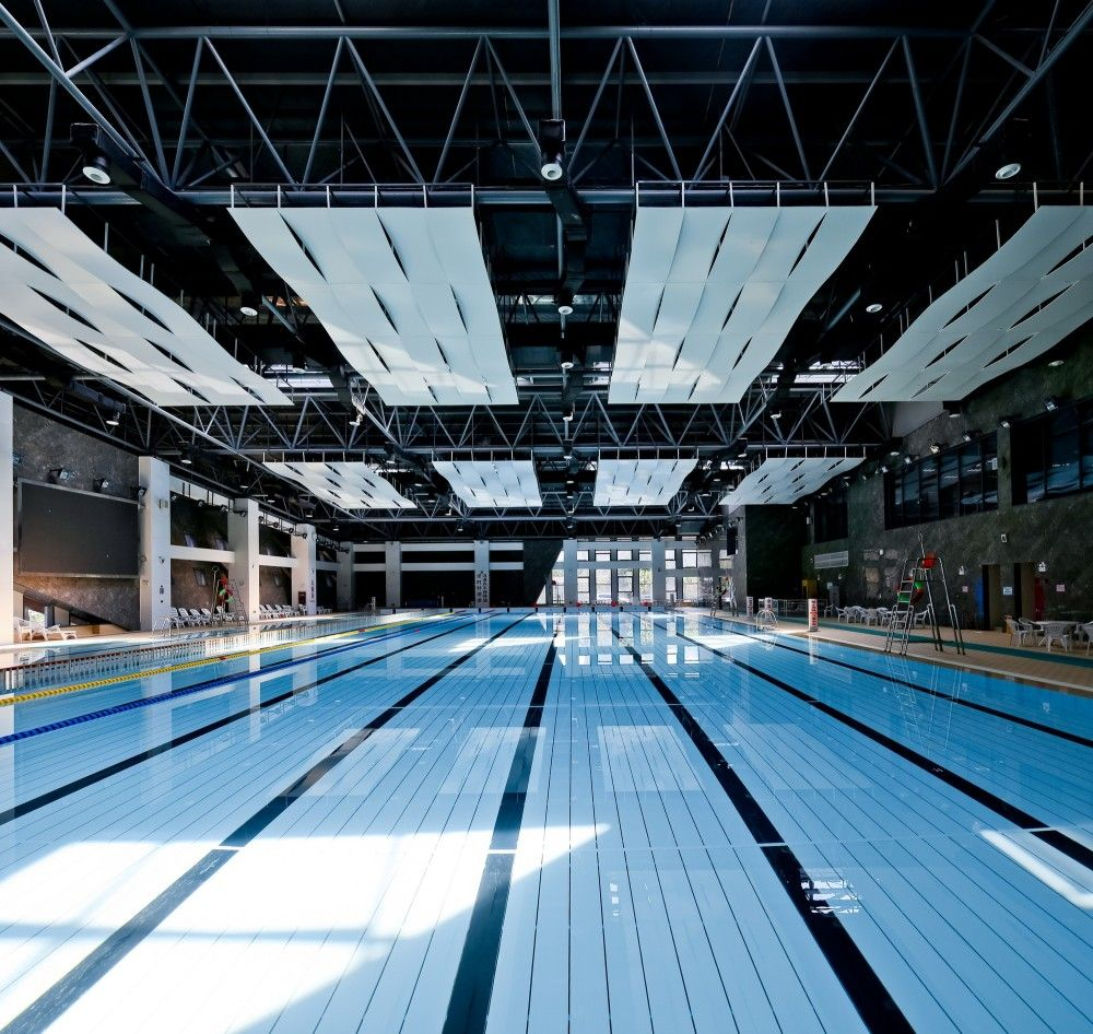 Gallery Of Zhoushi Culture Sports Center Udg Yangzheng Studio 4 Dream Pool Indoor Indoor Swimming Pools Gymnasium Architecture