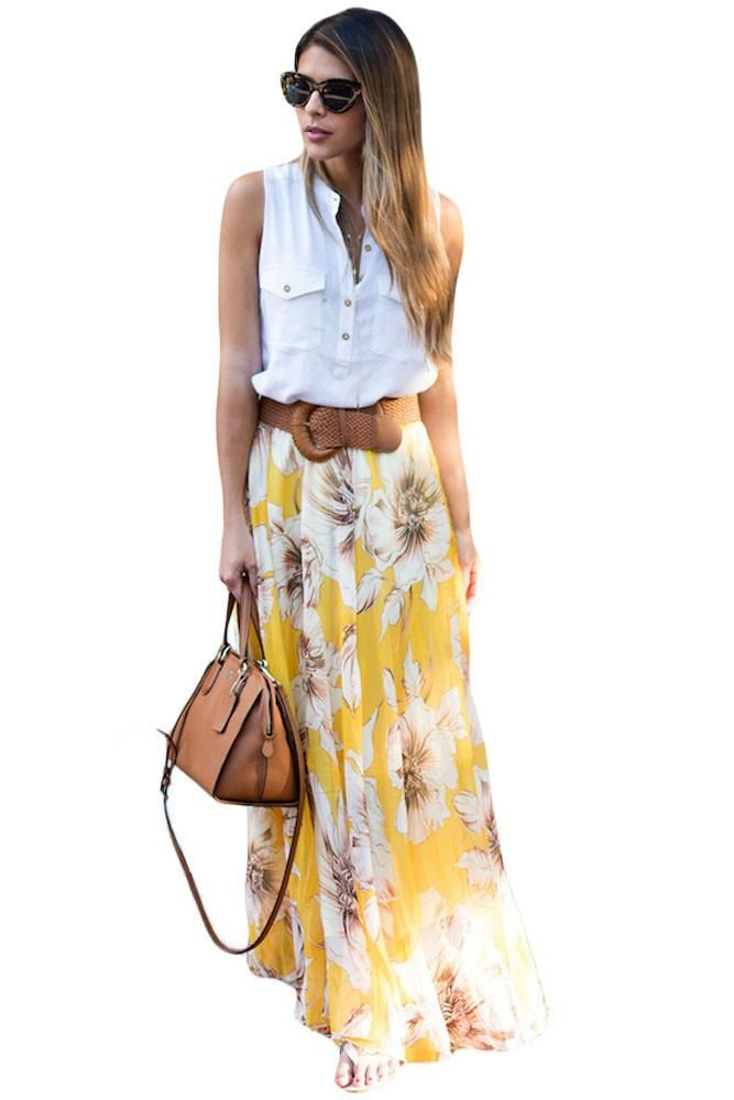 26fd463cd78ea Chic Yellow Blossoming Floral Chiffon Maxi Skirt, Shop for cheap Chic Yellow  Blossoming Floral Chiffon