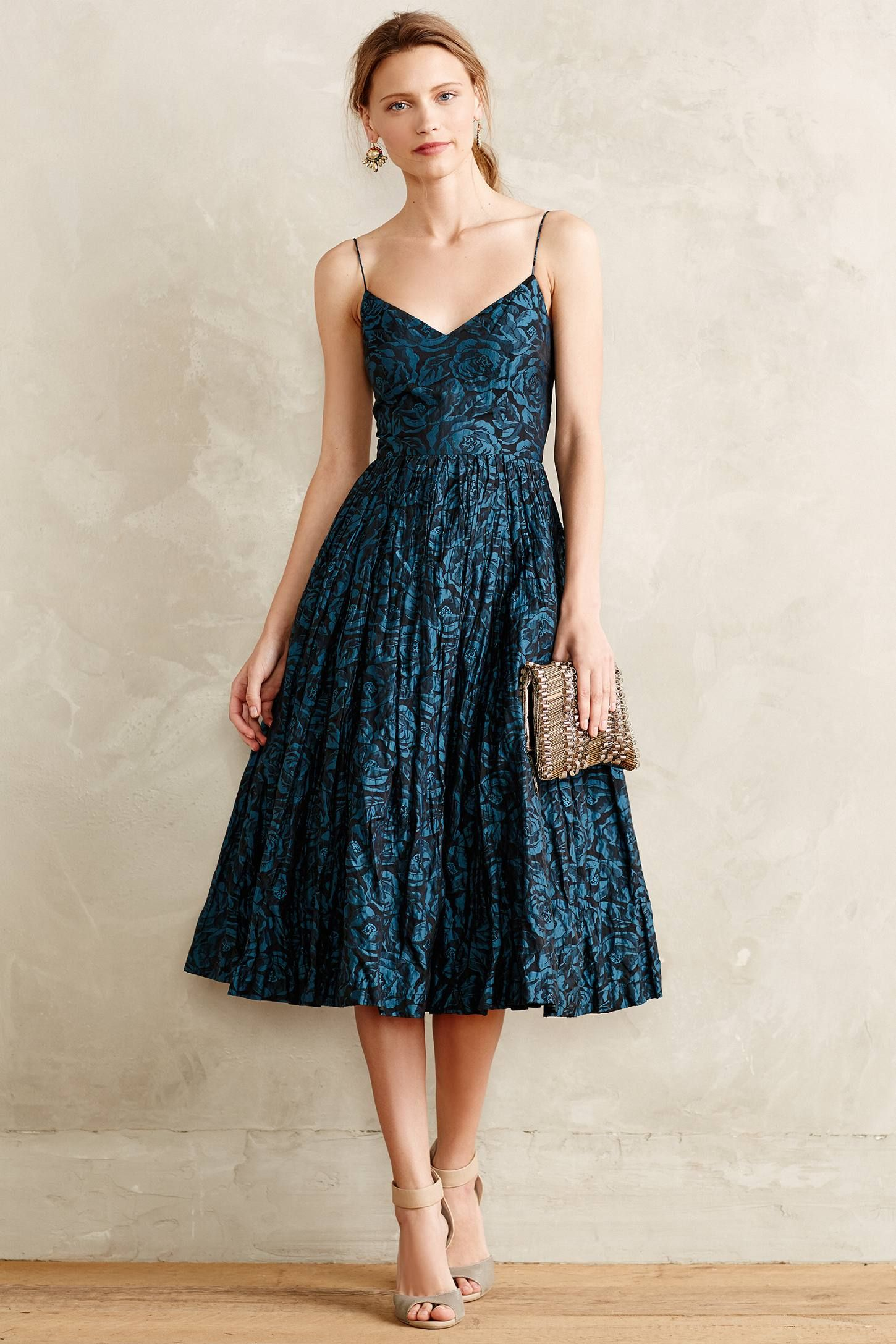 Glinted taffeta midi dress your anthropologie favorites for Anthropologie wedding guest dresses