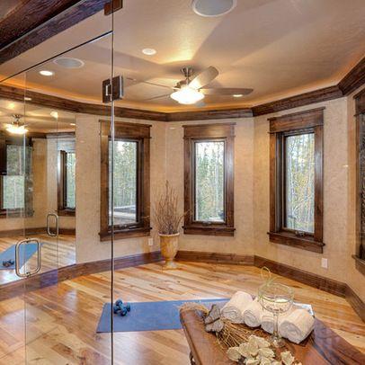 light floors with dark trim  yoga room design home gym