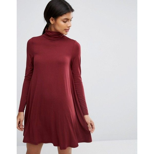 a98847e3c577b ASOS Swing Dress with Polo Neck & Long Sleeves ($18) ❤ liked on Polyvore  featuring dresses, red, long-sleeve turtleneck dresses, red dress, red  turtleneck, ...
