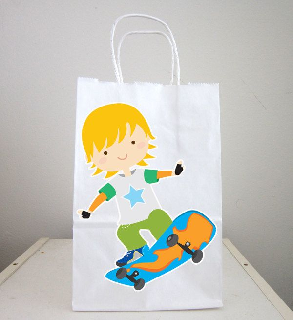 Skate boarding Goody Bags, Skate boarder Favor Bags, Skate boarding Party Bags by CraftyCue on Etsy