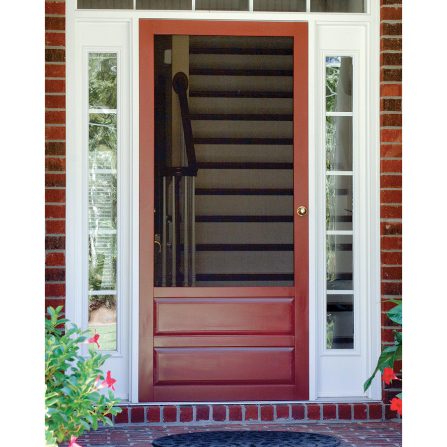Screen Tight Hampton 36 In X 80 In Wood Wood Frame Hinged Decorative Screen Door Lowes Com Wood Screen Door Screen Door Decorative Screen Doors