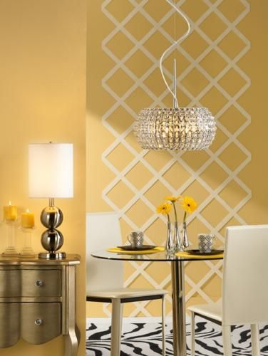 A contemporary black and white rug would really bring the swank factor that we need for our yellow dining room.  Also, I would prefer a mirrored or swanky console for the glassware.  We could offer beverages, appetizers, or desserts there.