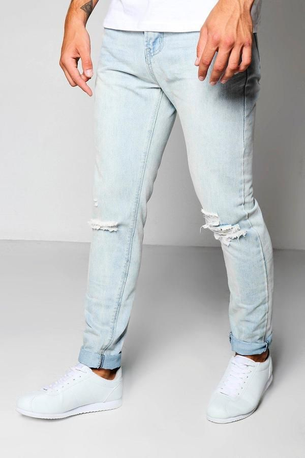 4b93f92a7898 Pale Blue Skinny Jeans With Ripped Knees | Products | Jeans, Skinny ...