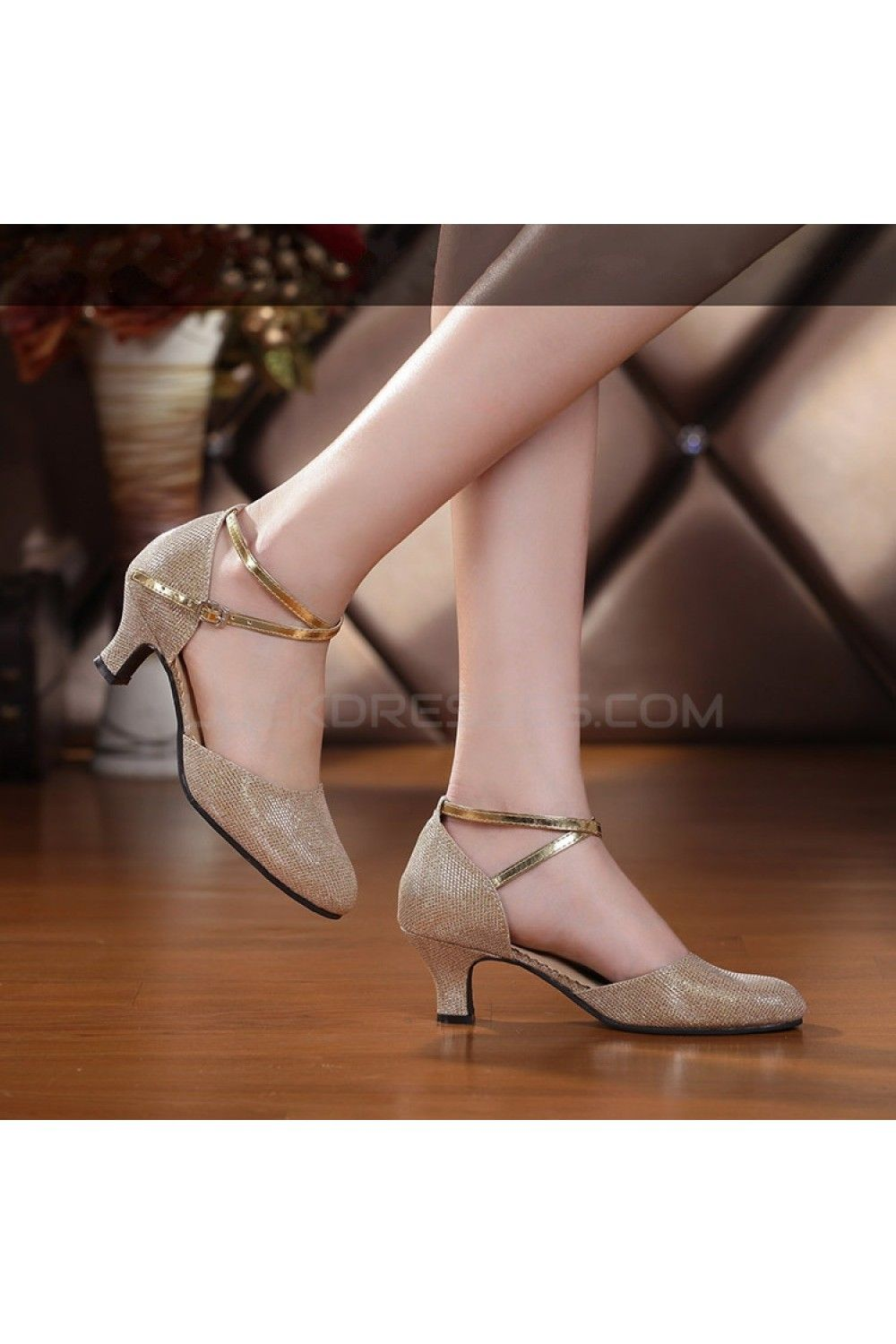 Women's Customizable Heels Pumps With Buckle Latin Party Dance Shoes Gold Wedding Party Shoes D801043