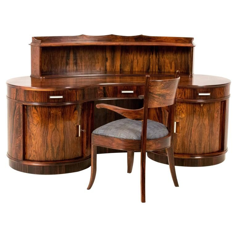Magnificent Art Deco Kidney Shaped Desk With Armchair By Reens