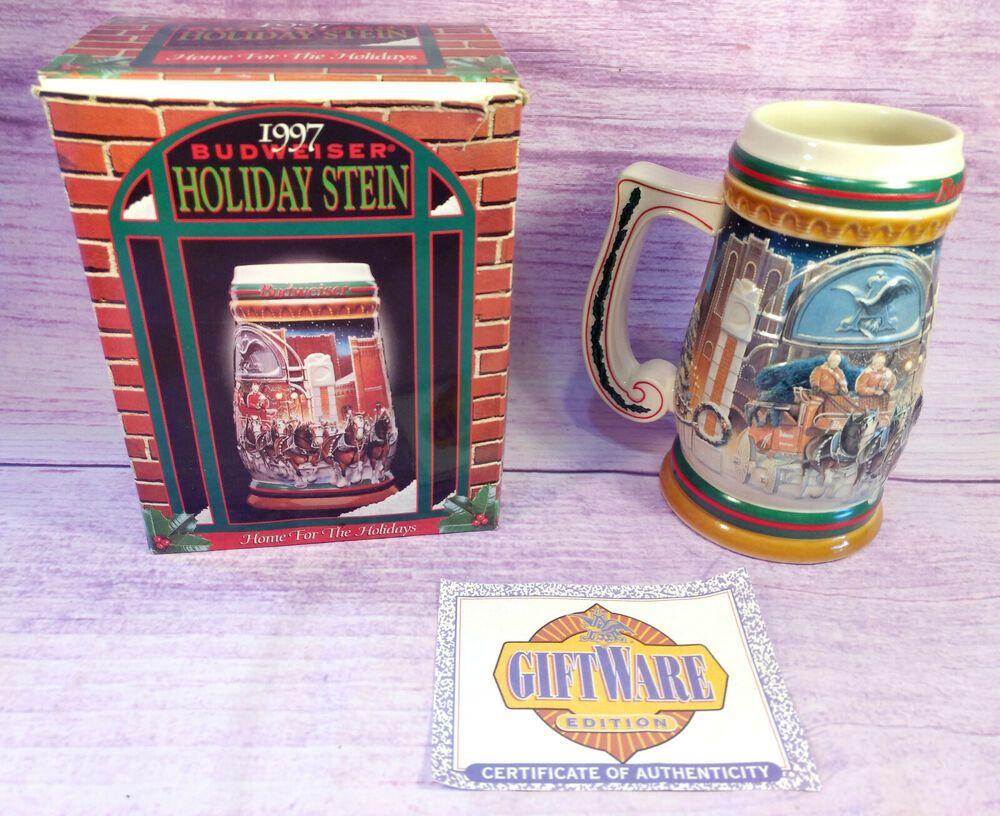 Budweiser Christmas Stein 2020 Budweiser 1997 Holiday Stein Home for the Holidays CS313 with Box