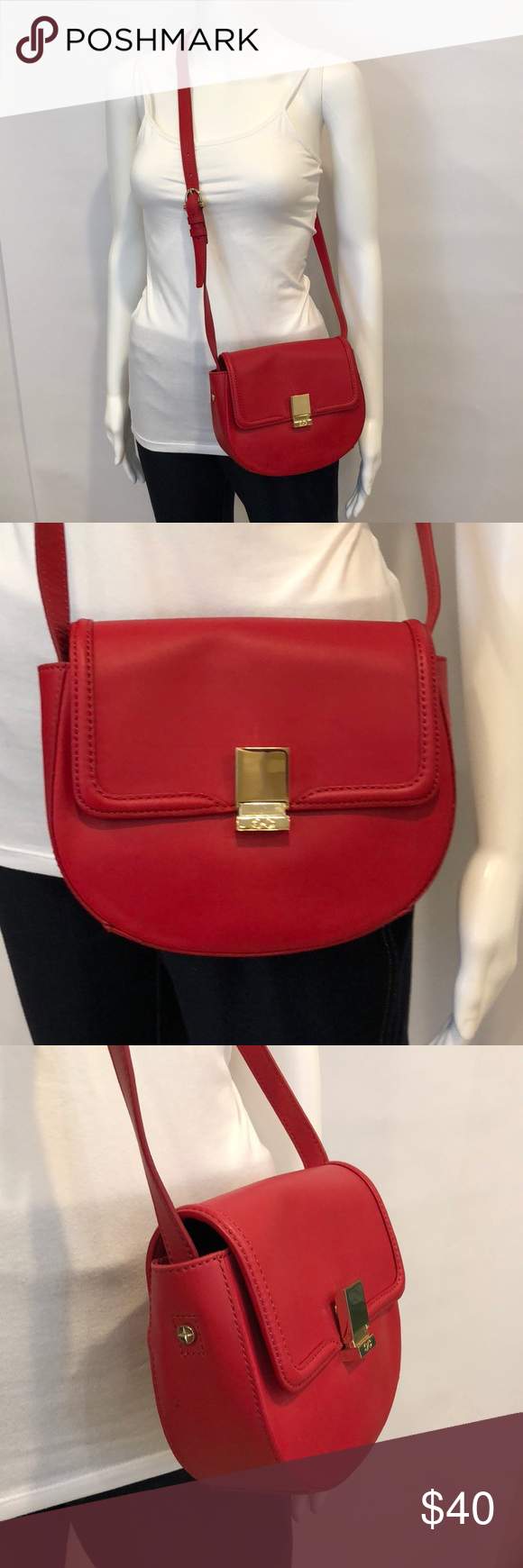C Wonder Red Leather Crossbody Perfect Bag To Brighten Your Wardrobe Cute Saddle