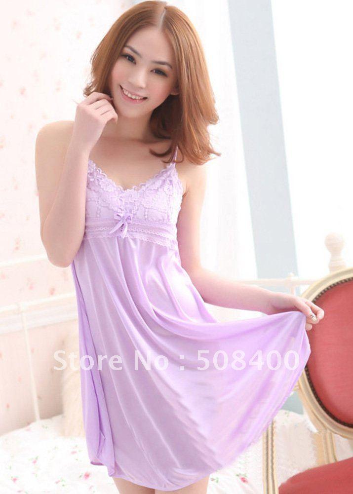 281cd19a71b6 Sexy cute ice silk gauze pajamas light purple nightdress free shipping   22.72