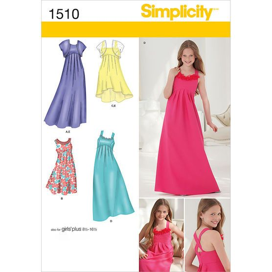 Simplicity Pattern 1510BB 8 1/2 - 16-Girl Girl Plus Dress
