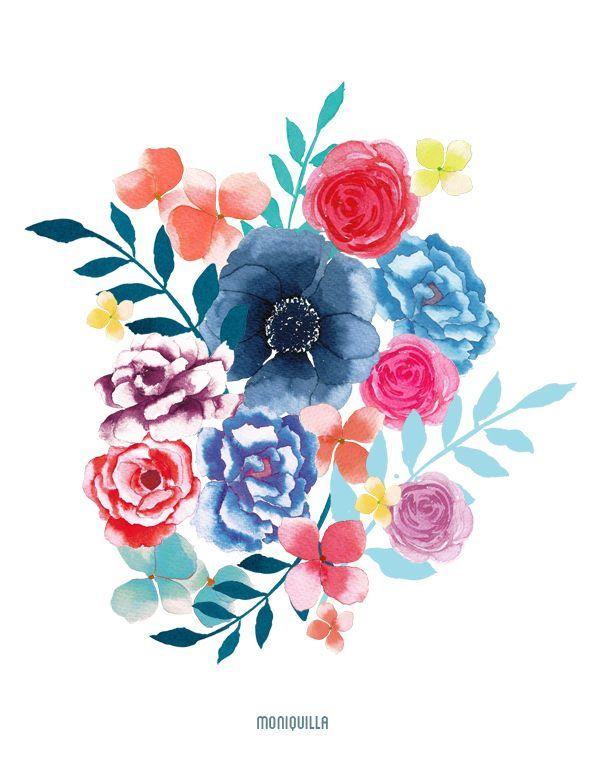 Resultado de imagen de pinterest flores a acuarela  dibujos