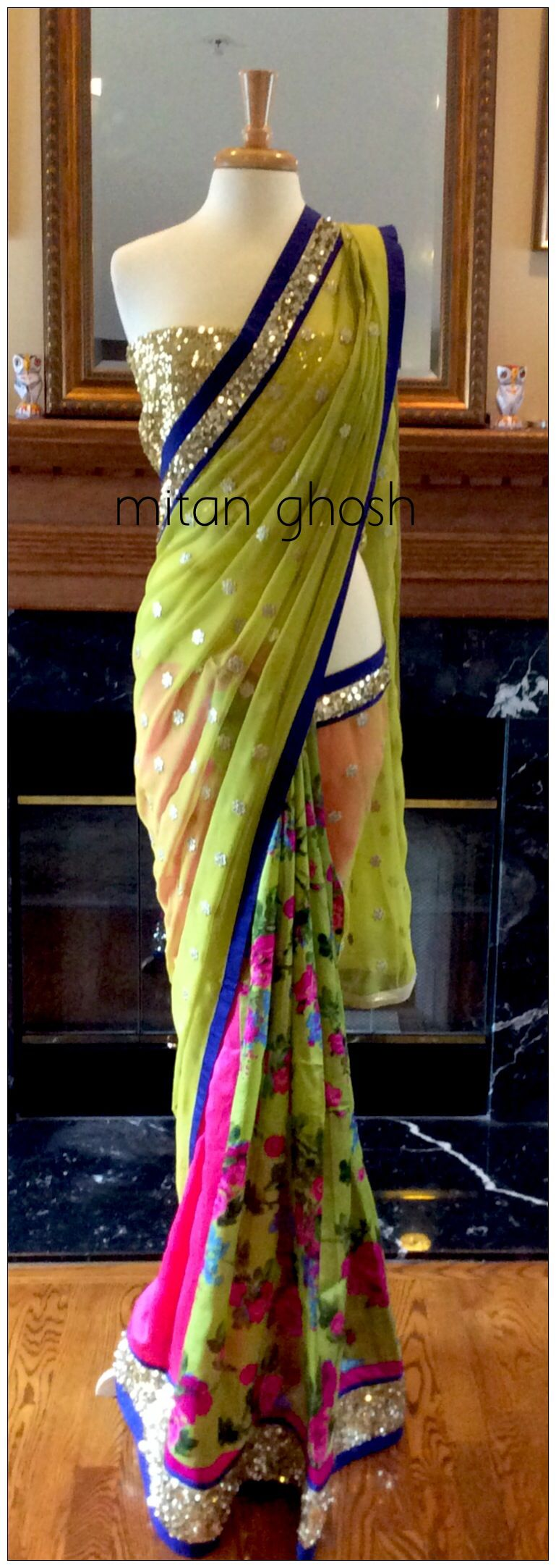 Printed raw silk and georgette and net saree