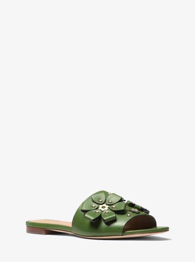 a1cd05ed8eb MICHAEL Michael Kors Tara Floral Embellished Leather Slide ...