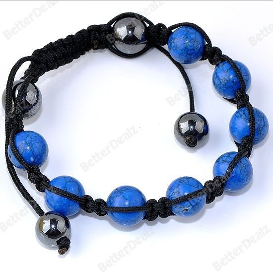 Dark Blue Howlite Turquoise Ball Beads Hip Hop Mens Bracelet Macrame Jewelry  Mothers Love Free Information on how to (Make Money Online)  http://ibourl.com/1nss