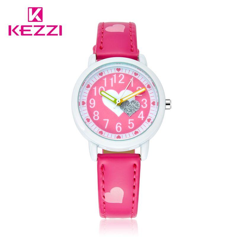 50cd817e62b Barato KEZZI Cinta Impressão Corações do Amor Relógios de Couro Da Menina  Da criança Dos Desenhos