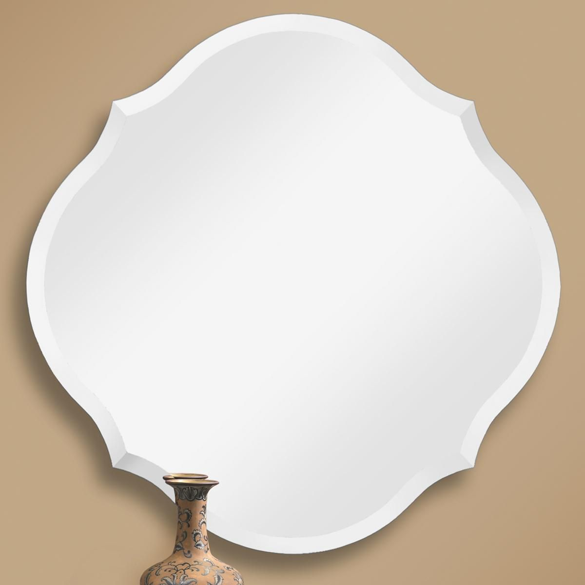 Beveled Scalloped Edge Frameless Mirror Frameless Mirror Bathroom Mirrors And Bath