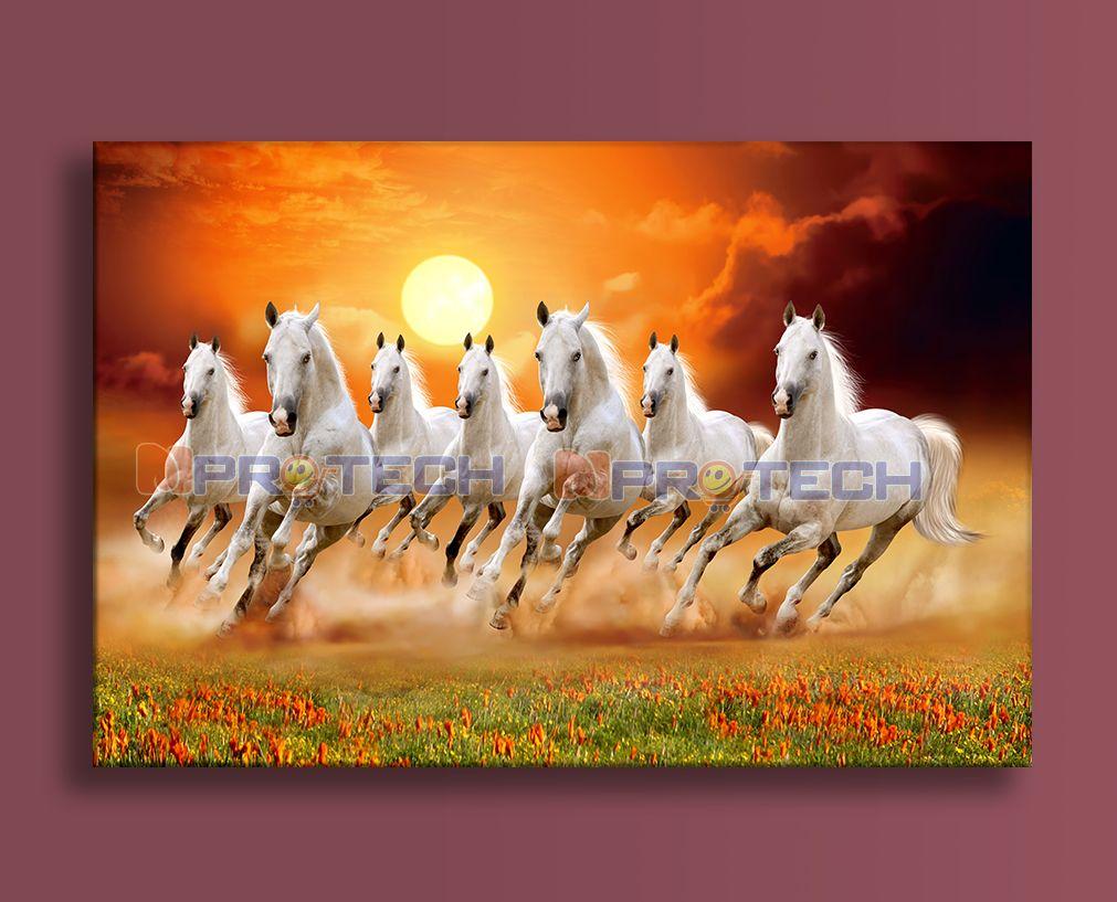 Seven Running Horses Vastu Painting For Living Room In 2021 Horse Painting Running Horses Seven Horses Painting