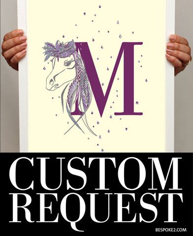 Horse and letter custom print. Detailed horse illustration braided within your customised Bodoni letter form. Available in radiant orchid purples, dazzling lake blues or fun pink fuchsias, printed with on a light golden cream background. Each print is designed accordingly to match its letter form and how each diamond confetti detail falls in its surrounds. From www.bespoke2.com  ©2014 bespoke2.com and See Design Australia Pty Ltd.