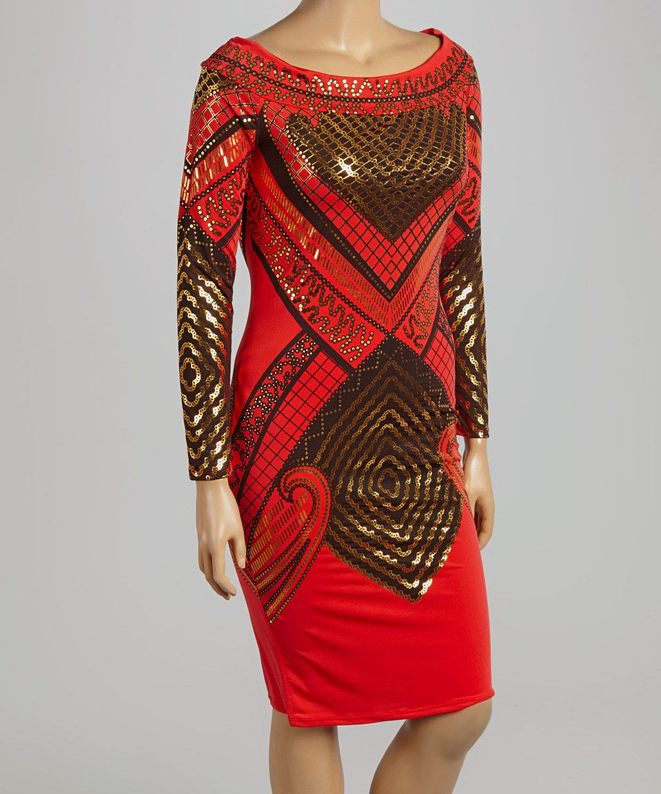 This red u gold geometric offshoulder bodycon dress plus by kami