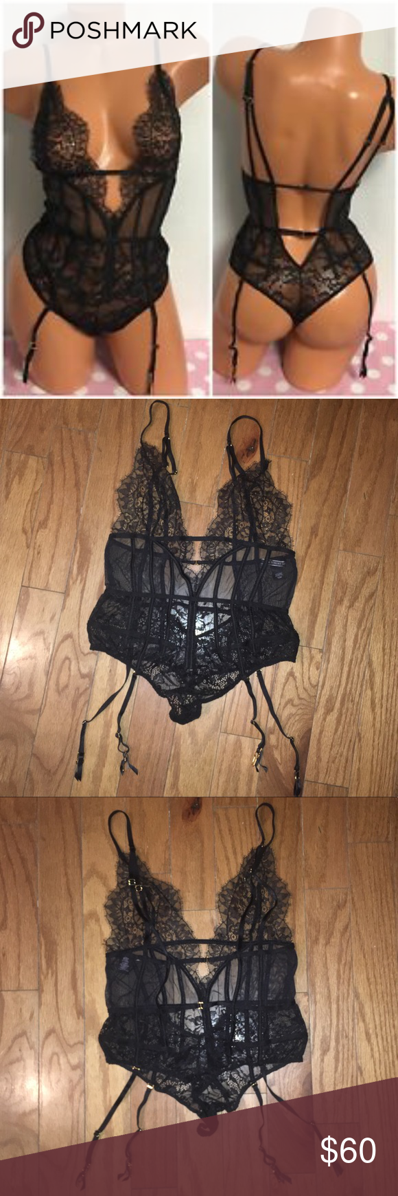 Victoria's Secret Black Lace Teddy w/garters Med. Absolutely stunning black lace teddy from Victoria's Secret. It's got detachable garters that you can easily remove if you'd like. It has gorgeous chantilly lace and corset style boning throughout the midriff area, and a thong bottom. You need this gorgeous piece of lingerie!!!! Send me offers loves :) Victoria's Secret Intimates & Sleepwear Chemises & Slips