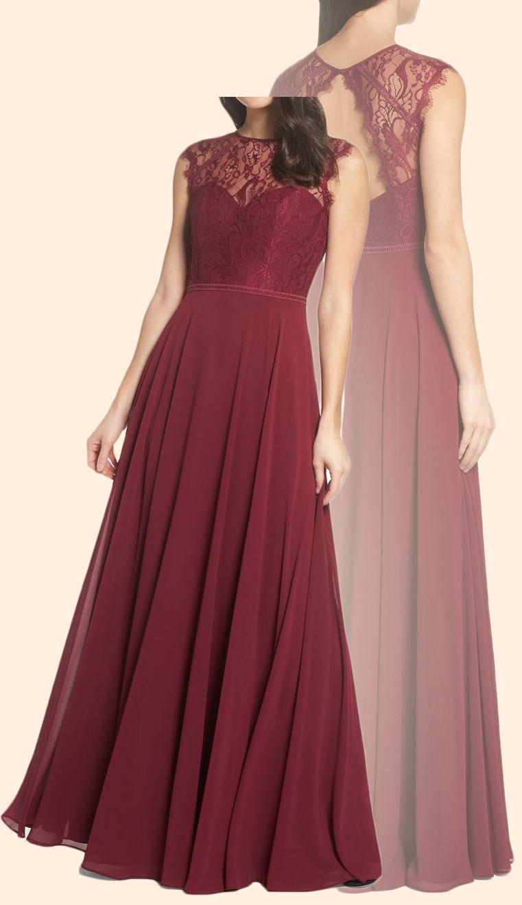 Cap sleeves lace chiffon long prom dress burgundy formal evening