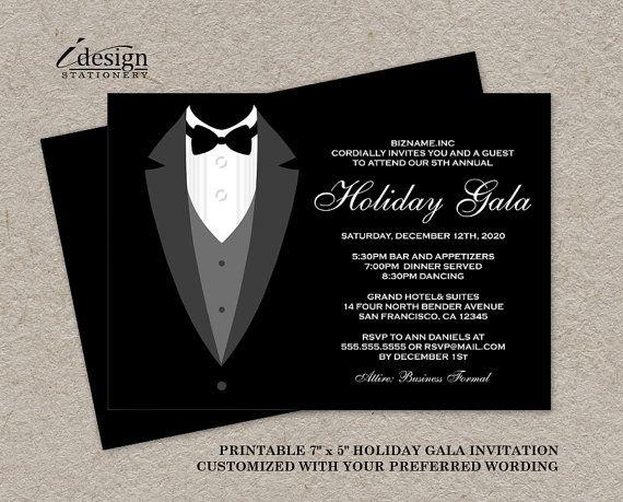 Holiday Gala Invitation DIY Printable Tuxedo Invitations