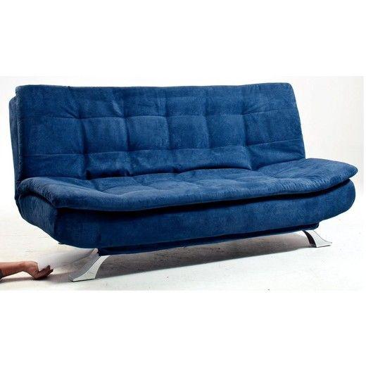 Kika Stofă Albastru Picioare Metal Cromat Suprafaţă Extensibilă Ca 120x186 Cm Ca L 186 H 91 A 92 Cm Couch Home Decor Furniture