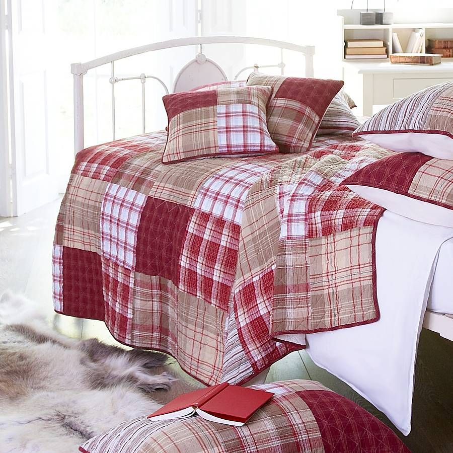 Bed sheets designs patchwork - Red And Cream Tartan Patchwork Quilt By Marquis Dawe Notonthehighstreet Com