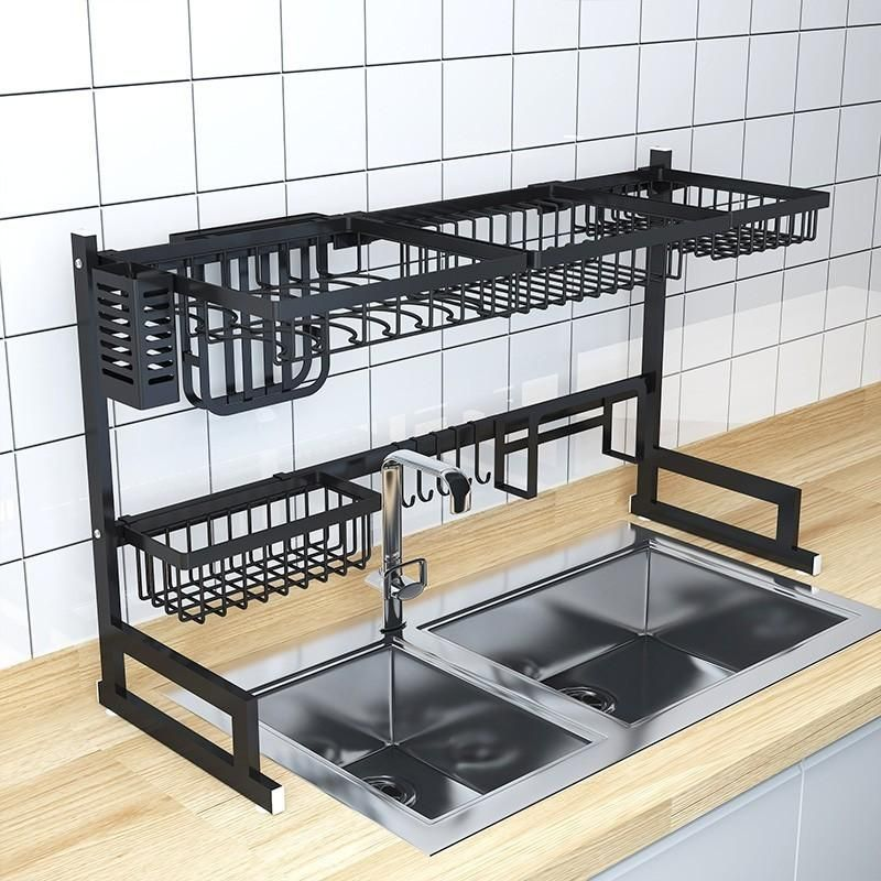 Black Stainless Steel Dish Drying Rack Over Sink In 2020 With
