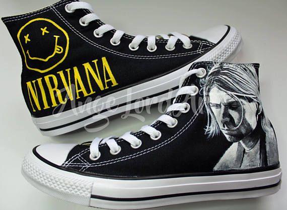 Custom Hand Painted Converse Hi Tops shoes sneakers. 100