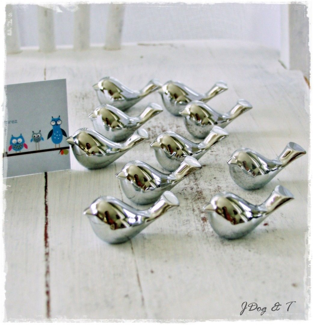 SILVER LOVE BIRD PLACE CARD HOLDERS WEDDING TABLE NUMBERS GUEST ...