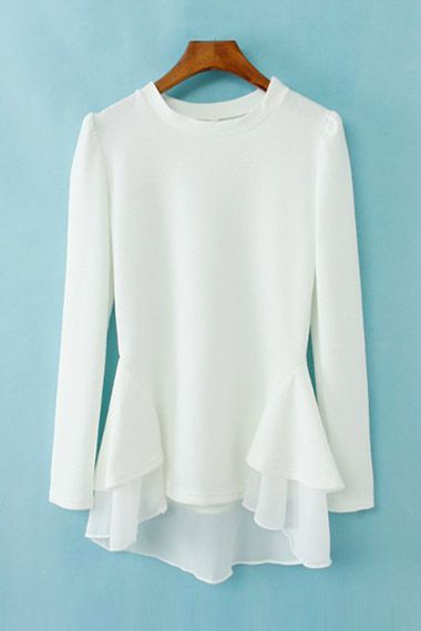 #6ks O-neck Asymmetric Hem Blouse