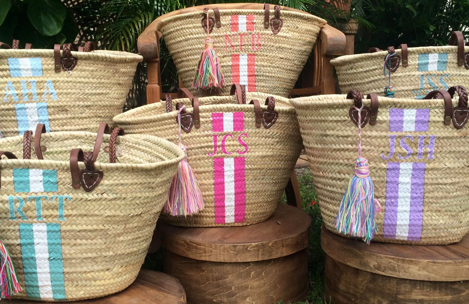 Monogrammed Straw Tote Bags with Tassels