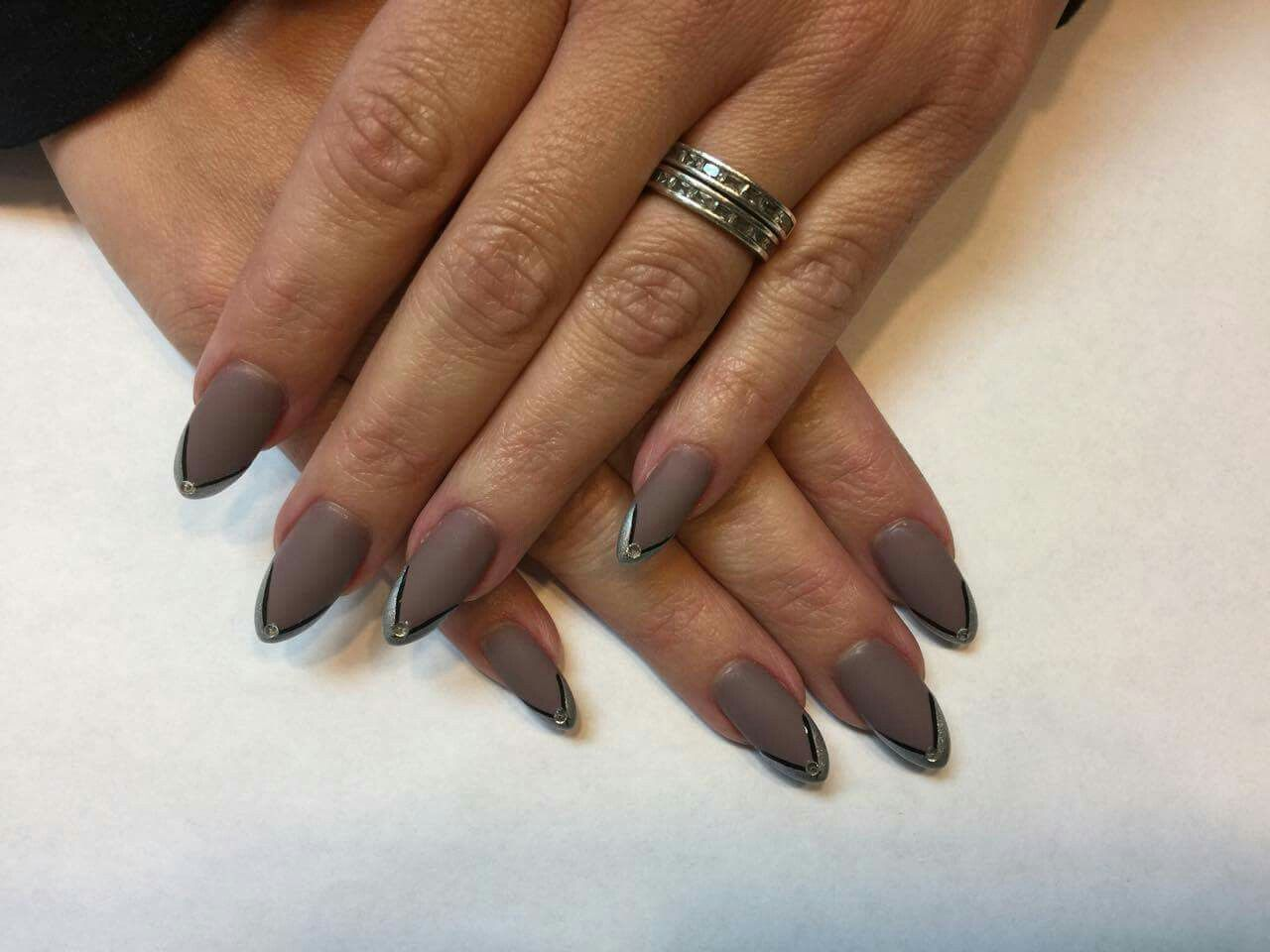 almond shaped, matte nails, chrome tips. gel polish, acrylic nails ...