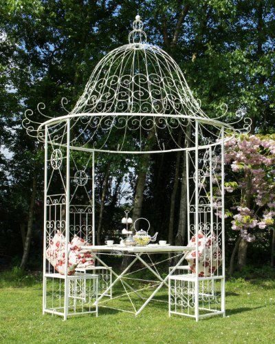 Luxury 'St Rimini' Wrought Iron Garden Gazebo with 4 Integral Seats -  French Cream Black Country Metal Works  http://www.amazon.co.uk/dp/B00E5FXI6O/ref= ... - Luxury 'St Rimini' Wrought Iron Garden Gazebo With 4 Integral Seats