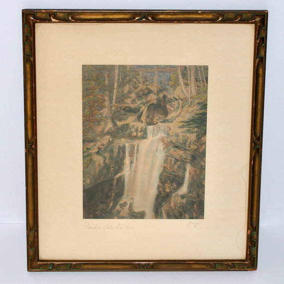 Antique Charles Sawyer Framed Hand Colored Photograph