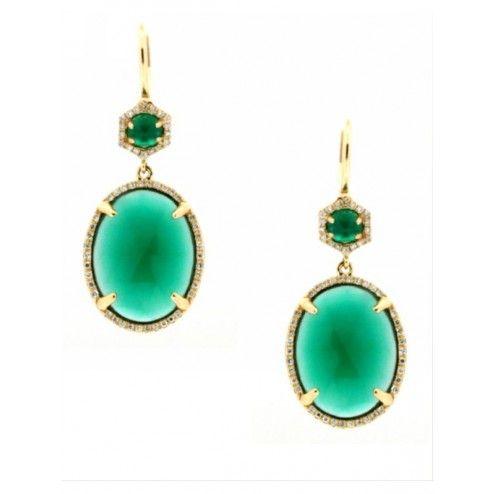 Oval drop emerald earrings