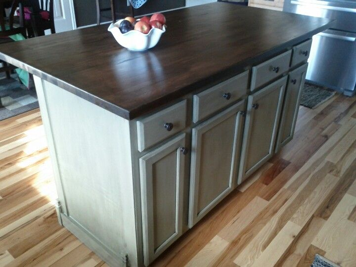 My Husband And I Made This Island Using A 60 Cabinet Base From Lowes And A Butcher Modern Kitchen Furniture Contemporary Kitchen Furniture Diy Kitchen Island